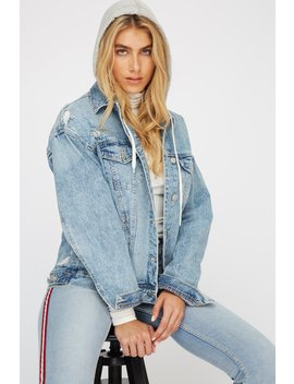 French Terry Distressed Denim Jacket by Urban Planet
