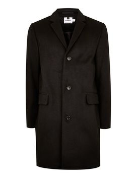Black Overcoat With Wool by Topman