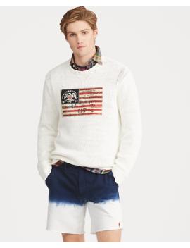 Flag Cotton Crewneck Jumper by Ralph Lauren