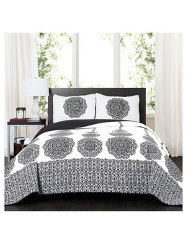Black Stripe Medallion Quilt Set   Lush Decor by Shop All Lush Decor