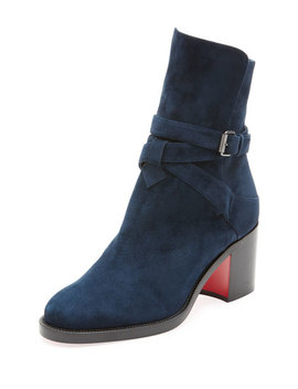 Kari Suede Red Sole Ankle Boots by Christian Louboutin