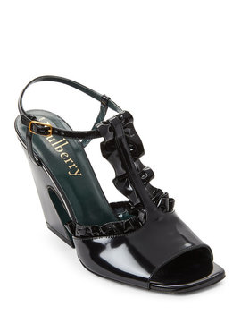 Black Ruffled Leather Flare Heel Sandals by Mulberry