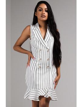 So Nautical Pinstripe Blazer Dress by Akira