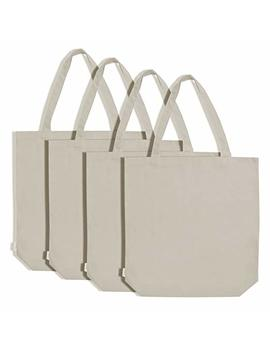 Augbunny 100 Percents Cotton Canvas Shopping Tote Bag Grocery Bag 4 Pack by Amazon