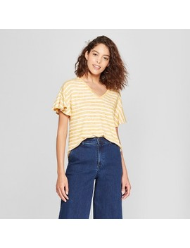 Women's Striped Ruffle Sleeve T Shirt   A New Day™ by Shop All A New Day™