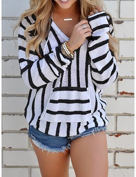 Stripes V Neck Casual Hoodie Sweater by Ivrose