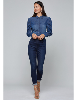 Denim Puff Sleeve Shirt by Bebe