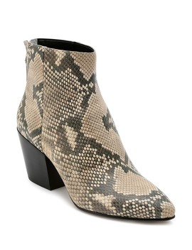 Women's Almond Toe Snakeskin Embossed Leather Booties by Dolce Vita