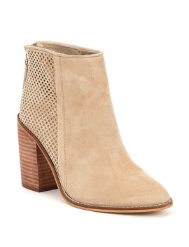 Replay Perforated Suede Block Heel Booties by Generic