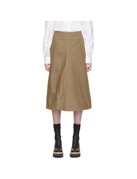 Brown Denim Flared Skirt by Lemaire