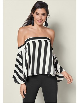 Stripe Bell Sleeve Top by Venus