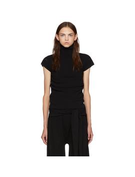 Black Baguette Short Sleeve Turtleneck by Issey Miyake