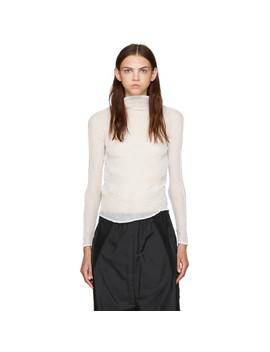 White Chiffon Twist Long Sleeve Pleated Blouse by Issey Miyake