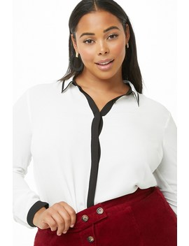 Plus Size Contrast Chiffon Shirt by Forever 21