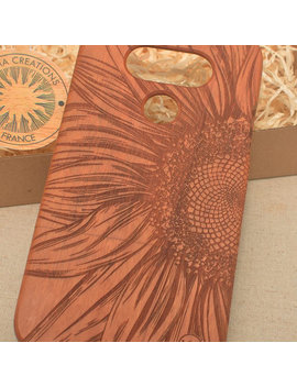Sunflower Design Close To Sun Wood Phone Case I Phone 8 X 7 7 Plus 6 6 S 6 Plus  5 5s  Se 5 C  Nature Custom Cherry Wooden Cover by Litha Creations