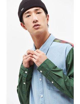 Mixed Up Denim & Plaid Long Sleeve Shirt by Pac Sun