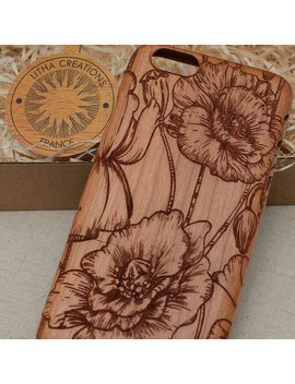 Floral Custom | Wild Poppies | Wood Phone Case Samsung Note 8 5 4  Galaxy S9 S8 Plus S6  S7 Edge S5 Mini A5 2016 Cherry Wooden Cover by Litha Creations