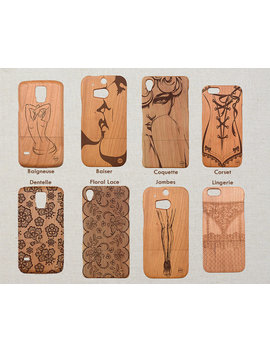 Erotic Wood Phone Case Samsung Note 8 5 4 Samsung Galaxy S9 S8 Plus S7 S6 Edge S5 Mini A5 (2016) Custom Design by Litha Creations