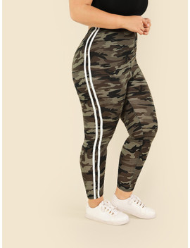 Plus Contrast Striped Side Camo Print Leggings by Shein