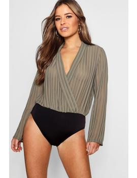 Petite Striped Woven Wrap Bodysuit by Boohoo