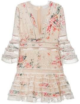 Laelia Diamond Trim Floral Print Cotton Dress by Zimmermann