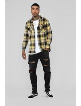 Leon Flannel Top   Yellow/Combo by Fashion Nova