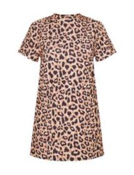 Basic Leopard Short Sleeve T Shirt Dress by Prettylittlething