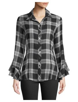Carmella Ruffle Sleeve Button Front Plaid Blouse by Finley
