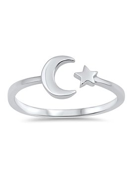 Prime Jewelry Collection Sterling Silver Stunning Women's Open Moon Star Ring (Sizes 3 10) by Prime Jewelry Collection