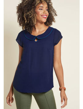 Just As Imagined Short Sleeve Top In Classic Navy by Modcloth