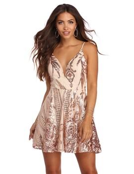 Amira Formal Sequin Scroll Print Dress by Windsor