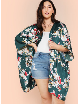 Plus Batwing Sleeve Floral Kimono by Shein
