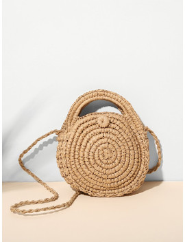 Round Shaped Woven Crossbody Bag by Sheinside