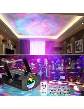 Koot Dj Disco Lights, 7 Colors Water Wave Light Projector Sound Activated Stage Light Water Effect Or Flame Party Light For Halloween Christmas Party Karaoke Ktv Club (Black) by Koot