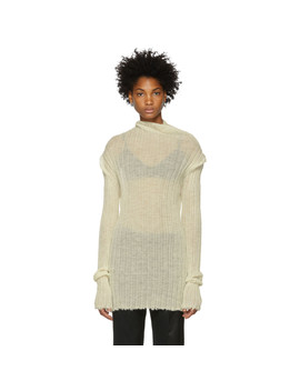 White Ribbed Turtleneck by Ann Demeulemeester