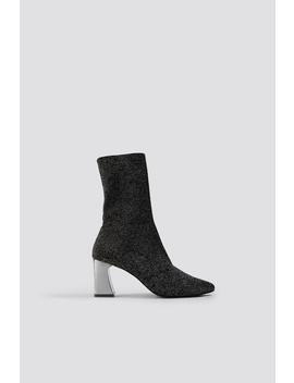 Metallic Heel Glitter Sock Boots by Na Kd