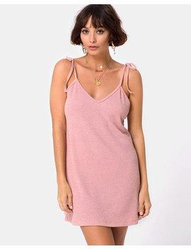 Yellav Slip Dress In Knit Crinkle Rib Pink By Motel by Motel Rocks