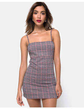 Cecile Dress In Charles Check Blush By Motel by Motel Rocks