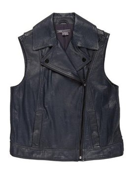 Vince Leather Moto Vest by Vince