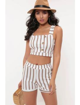 Cream Stripe Button Top by I Saw It First