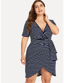 Plus Knot Side Striped Wrap Dress by Shein