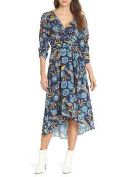 Floral High/Low Faux Wrap Dress by Eliza J