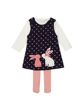 Bluezoo   Baby Girls' Navy Bunny Applique Pinafore Cream Top And Pink Tights Set by Bluezoo