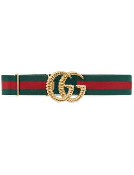 Web Elastic Belt With Torchon Double G Buckle by Gucci