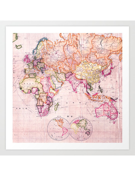 Vintage Map Pattern Art Print by