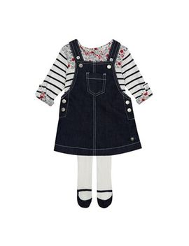 J By Jasper Conran   Baby Girls' Navy Denim Pinafore Striped Top And Tights Set by J By Jasper Conran