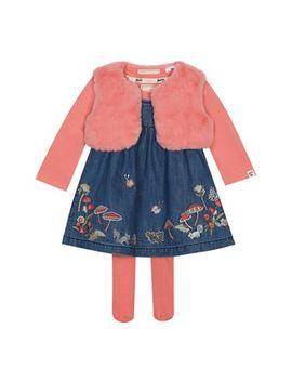 Mantaray   Baby Girls' Navy Woodland Embroidered Pinny, Gilet, Top And Tights Set by Mantaray