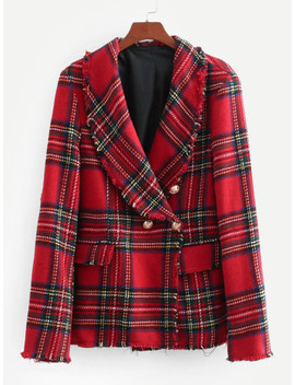 Tartan Plaid Raw Edge Blazer by Sheinside