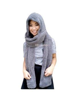 Am Landen Ladies Wool Velvet Soft All In One Soft Hood Hats Scarf Gloves(Gray) by Am Landen