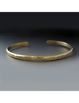 Men's Thin Hammered Gold Brass Cuff Bracelet / Father's Day Gift / Boyfriend Gift /Gifts For Him / Layering Bracelet / Men's Thin Gold Cuff by String Of Jewels2